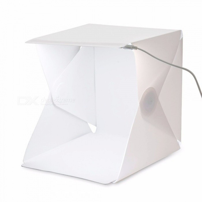 Mini Portable Folding LED Studio Photo Box - WhiteOther Accessories<br>Form  ColorWhiteMaterialABSQuantity1 piecePacking List1 x Camera Studio Box1 x Black Background Colth1 x White Background Colth1 x USB Cable<br>