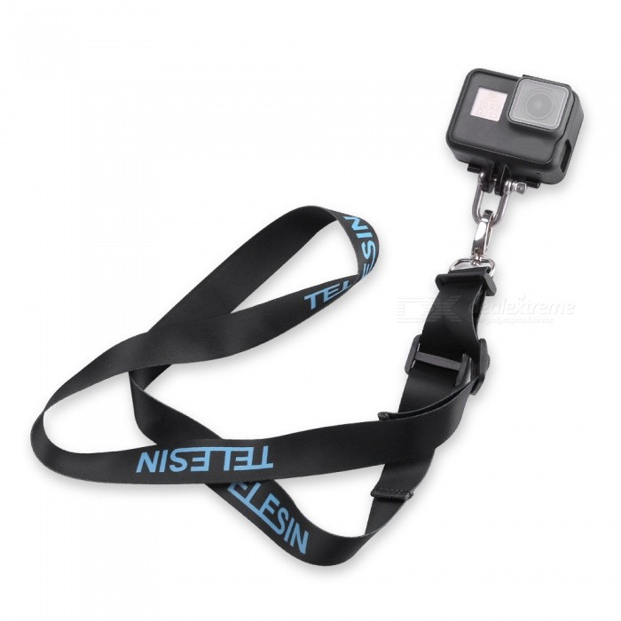 TELESIN Detachable Neck Shoulder Strap with Buckle Mount for GoPro 5Other GoPro Accessories<br>Form  ColorBlue + Black + Multi-ColoredQuantity1 setMaterialStainless Steel, Nylon, PlasticShade Of ColorBlackPacking List1 x Shoulder Strap with Buckle Mount1 x U Buckle<br>