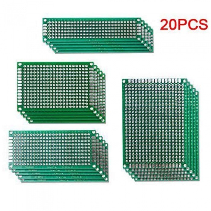 5x7 4x6 3x7 2x8cm Double-Side Copper Prototype PCB (20 PCS)DIY Parts &amp; Components<br>Form  ColorGreen + White (20 PCS)Quantity1 setMaterialGlass fiberEnglish Manual / SpecNoCertificationN/APacking List5 x 5*7cm Prototype PCB Universal Boards 5 x 4*6cm  Prototype PCB Universal Boards 5 x 3*7cm Prototype PCB Universal Boards5 x 2*8cm Prototype PCB Universal Boards<br>
