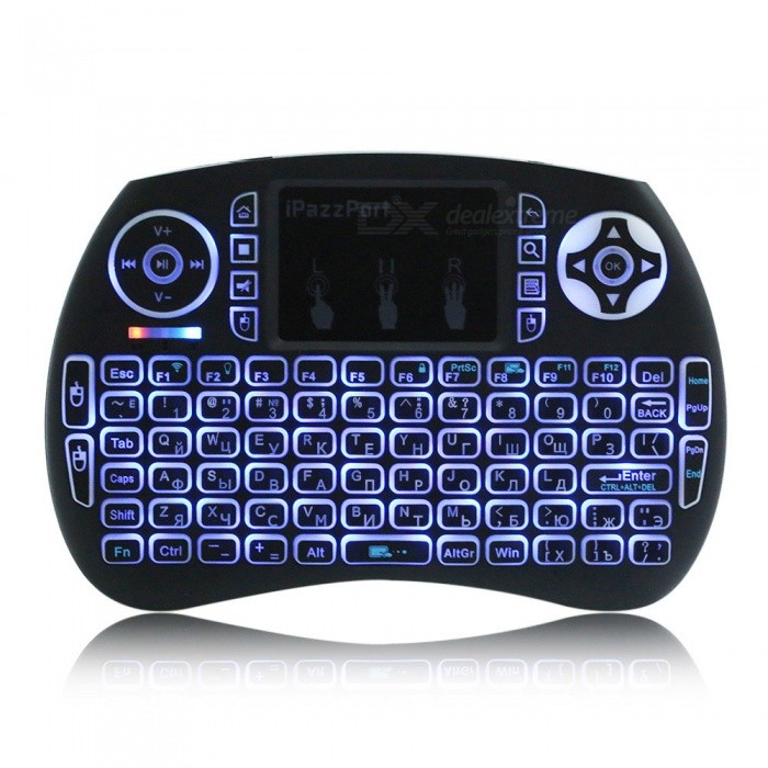 iPazzPort Mini Wireless Russian Keyboard with RGB Backlight - BlackWireless Keyboards<br>Form  ColorBlackModelKP-810-21SD-RGBMaterialABSQuantity1 DX.PCM.Model.AttributeModel.UnitInterfaceUSB 2.0Wireless or Wired2.4G WirelessBluetooth VersionNoCompatible BrandDell,HP,Toshiba,Acer,Lenovo,Samsung,MSI,Sony,IBM,Asus,Thinkpad,Huawei,GoogleTracking MethodTouch PadBack-litYesOperation Distance10 DX.PCM.Model.AttributeModel.UnitPowered ByBuilt-in BatteryBattery included or notYesCharging Time3 DX.PCM.Model.AttributeModel.UnitBattery Capacity800 DX.PCM.Model.AttributeModel.UnitBattery Number1WaterproofNoTypeGaming,ErgonomicSupports SystemWin xp,Win 2000,Win 2008,Win vista,Win7 32,Win7 64,Win8 32,Win8 64,MAC OS X,IOS,Linux,Android 2.x,Android 4.xCertificationCE, FCCPacking List1 x Mini Keyboard1 x USB cable (45cm)1 x Instruction in Chinese and English<br>