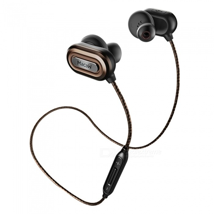 MACAW IPX4 Sweatproof Bluetooth V4.1 Sports Earphone with MIC - BrownHeadphones<br>Form  ColorBlack + BrownBrandOthers,MACAWModelT1000MaterialABS + TPEQuantity1 DX.PCM.Model.AttributeModel.UnitConnectionBluetoothBluetooth VersionBluetooth V4.1Bluetooth ChipCSR8645Operating Range10MConnects Two Phones SimultaneouslyYesCable Length60 DX.PCM.Model.AttributeModel.UnitLeft &amp; Right Cables TypeEqual LengthHeadphone StyleBilateral,Earbud,In-EarWaterproof LevelIPX4Applicable ProductsUniversalHeadphone FeaturesHiFi,English Voice Prompts,Long Time Standby,Noise-Canceling,Volume Control,With Microphone,For Sports &amp; ExerciseRadio TunerNoSupport Memory CardNoSupport Apt-XYesChannels2.0SNR98dBSensitivity108±3dBTHDFrequency Response20-20000HzImpedance32 DX.PCM.Model.AttributeModel.UnitDriver Unit12mm * 2pcsBattery TypeLi-polymer batteryBuilt-in Battery Capacity 80 DX.PCM.Model.AttributeModel.UnitStandby Time170 DX.PCM.Model.AttributeModel.UnitTalk Time3 DX.PCM.Model.AttributeModel.UnitMusic Play Time6 DX.PCM.Model.AttributeModel.UnitPower AdapterUSBPower Supply5V 1ACertificationFCCPacking List1 x Macaw T1000 In-ear Earphone1 x Pair of Earplugs Cover (L)1 x Pair of Earplugs Cover (M)1 x Pair of Earplugs Cover (S) 1 x Carry Pouch1 x Micro USB charging cable<br>