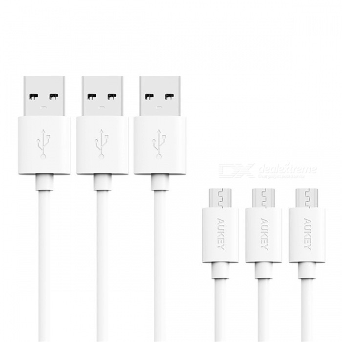 AUKEY CB-D10 1.2m USB 2.0 Male to Micro USB Data Cable - White (3 PCS)Cables<br>Form  ColorWhiteModelCB-D10MaterialABSQuantity1 DX.PCM.Model.AttributeModel.UnitCompatible ModelsSamsung Xiaomi Meizu Huawei LG HTC SmartphonesCable Length120 DX.PCM.Model.AttributeModel.UnitConnectorMicro USB / USB 2.0Packing List3 x 1.2M length Micro USB cables<br>