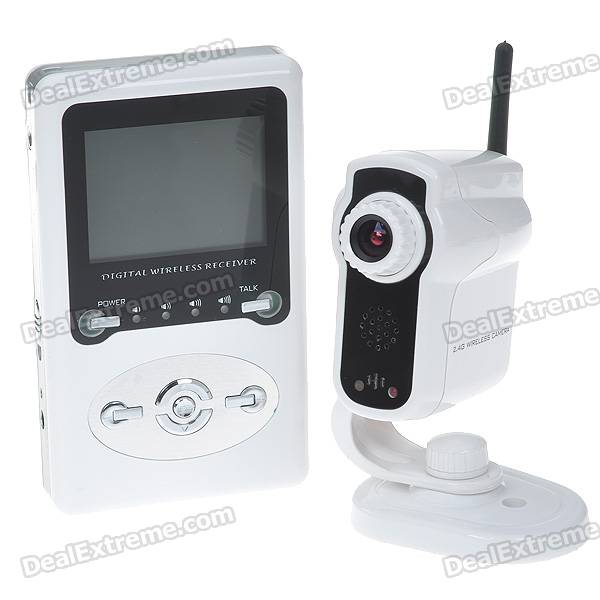 "2.4GHz Wireless Surveillance Camera with Rechargeable 2.4"" LCD Handheld Baby Monitor"