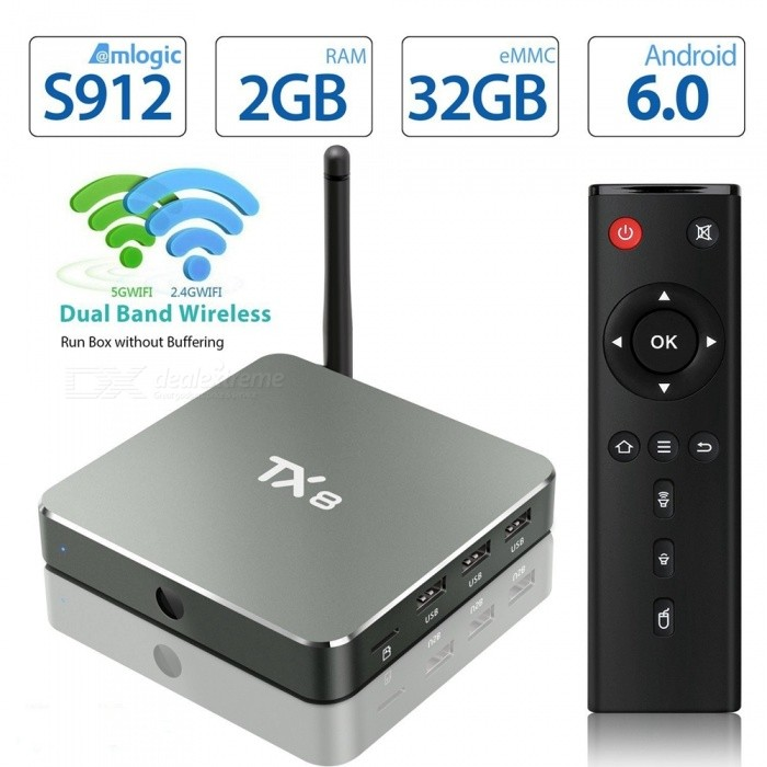 TX8 Android 6.0 S912 Mini PC Smart TV Box with 2GB, 32GB (EU Plug)Smart TV Players<br>Form  ColorBlack + MulticolorBuilt-in Memory / RAM2GBStorage32GBPower AdapterEU PlugModelTX8Quantity1 DX.PCM.Model.AttributeModel.UnitMaterialABS + AluminumShade Of ColorBlackOperating SystemAndroid 6.0ChipsetAmlogic S912 Octa-CoreCPUOthers,Cortex-A53Processor Frequency2GHzGPUARM Mali-T820MP3 GPU up to 750MHzMenu LanguageEnglishMax Extended Capacity32GBSupports Card TypeMicroSD (TF)Wi-FiWifi802.1.1 b/g/n  AC (2.4G+5.8G)Bluetooth VersionBluetooth V4.03G FunctionYesWireless Keyboard/Mouse2.4GAudio FormatsOthers,MP1MP2MP3WMAOGGAACM4AFLACAPEAMRRAWAVVideo FormatsOthers,4K @ 60fpsH.265AVIH.264VC-1MPEG-2MPEG-4DIVD / DIVXReal8 / 9/10RMRMVBPMPFLVMP4M4V VOBWMV3GPMKVAudio CodecsDTS,FLACVideo CodecsOthers,4KH.265MPEG1 / 2/4H.264HD AVC / VC-1RM / RMVBXvid / DivX3 / 4/5/6RealVideo8 / 9/10Picture FormatsOthers,JPEG / BMP / GIF / PNG / TIFFSubtitle FormatsMicroDVD [.sub],SubRip [.srt],Sub Station Alpha [.ssa],Sami [.smi]idx+subPGSOutput Resolution1080PHDMIHD 2.0 up to 4k2k OutputPower Supply5V / 2APacking List1 x TX8 Android Box 1 x Power Adapter 1 x HDMI Cable1 x Remote Control 1 x User Manual<br>