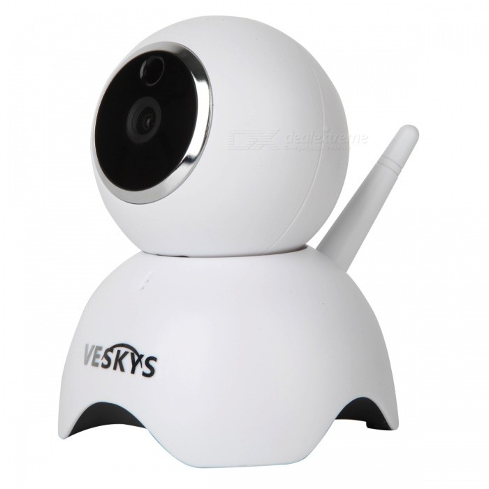 VESKYS 1.3MP Smart WiFi Network IP Camera (EU Plug)IP Cameras<br>Form  ColorWhitePower AdapterEU PlugMaterialABSQuantity1 DX.PCM.Model.AttributeModel.UnitImage SensorCMOSImage Sensor SizeOthers,1/4inchPixels1.3MPLens3.6mmViewing Angle90 DX.PCM.Model.AttributeModel.UnitVideo Compressed FormatH.264Picture Resolution1280X960PFrame Rate25fpsInput/OutputBuilt-in microphone / Audio line-outAudio Compression FormatOthers,ADPCMMinimum Illumination0.1 DX.PCM.Model.AttributeModel.UnitNight VisionYesIR-LED Quantity6Night Vision Distance10 DX.PCM.Model.AttributeModel.UnitWireless / WiFi802.11 b / g / nNetwork ProtocolTCP,IP,SMTPSupported SystemsWindows 2000,XP,7Supported BrowserOthers,NOSIM Card SlotNoOnline Visitor4IP ModeDynamic,StaticMobile Phone PlatformAndroid,iOSSmart AlarmMotion Detection Mobile Remote ViewFree DDNSYesIR-CUTYesBuilt-in Memory / RAMNoLocal MemoryYesMemory CardTFMax. Memory Supported64GBMotorYesRotation AngleHorizontal:355 degree Vertical: 65 degreeSupported LanguagesEnglish,Simplified ChineseWater-proofNoRate Voltage5VIntercom FunctionYesPacking List1 x IP Camera 1 x EU Plug power adapter (110~240V)1 x Data cable (100cm)1 x Holder stand 1 x Pack of installation accessories1 x English user manual<br>