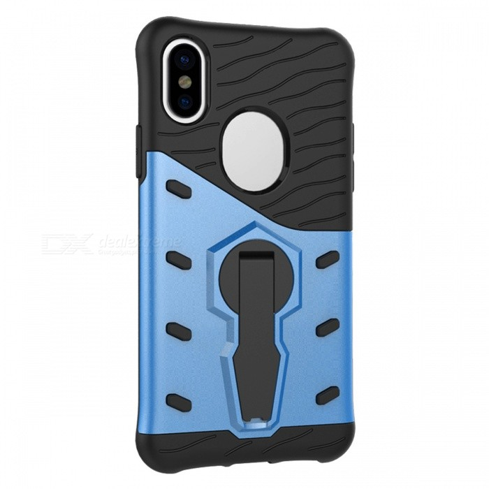 Naxtop TPU Bumper PC Cover Kickstand Case for Apple IPHONE X - BluePlastic Cases<br>Form  ColorBlueQuantity1 DX.PCM.Model.AttributeModel.UnitMaterialTPU + PCCompatible ModelsOthers,IPHONE XDesignSolid ColorStyleBack CasesPacking List1 x Case<br>