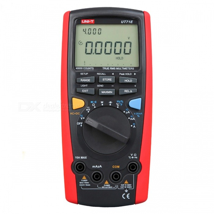 UNI-T UT71E Intelligent Digital MultimeterMultimeters<br>Form  ColorRed + BlackModelUT71EQuantity1 pieceMaterialABSScreen Size73*50 mmMax. Display39999DC Voltage400mV/4V/40V/400V/1000V±(0.025%+5)AC Voltage4V/40V/400V/1000V±(0.4%+30)DC Current400A/4000A/40mA/400mA/10A±(0.1%+15)AC Current400A/4000A/40mA/400mA/10A±(0.7%+15)Resistance400/4K/40K/400K/4M/40M±(0.3%+8)Capacitance Accuracy40nF/400nF/4F/40F/400F/4mF/40mF±(1%+20)Frequency Accuracy40Hz-400MHz±(0.01%+8)Transistor TestNoTemperature TestYesFrequency TestYesShort-Circuit ProtectionYesShort Curcuit BuzzYesAuto Power OffYesPowered ByBuilt-in Battery,Others,9V battery (6F22)Battery Number1Battery included or notYesCertificationCEPacking List1 x Digital Multimeter<br>
