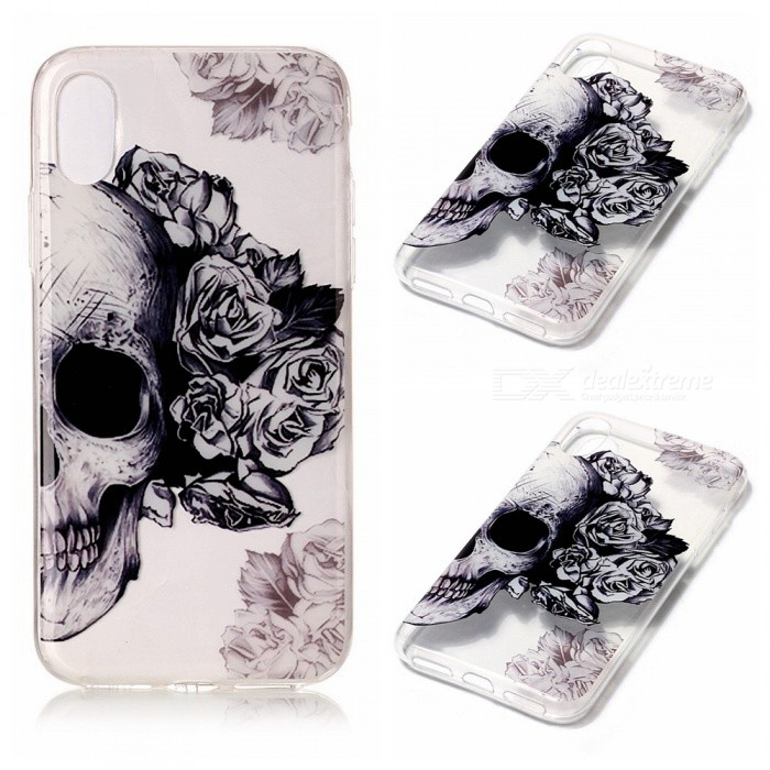 Protective TPU Back Case for IPHONE X - Skull PatternTPU Cases<br>Form  ColorSkull PatternModelN/AQuantity1 DX.PCM.Model.AttributeModel.UnitMaterialTPUCompatible ModelsOthers,IPHONE XDesignMixed ColorStyleBack CasesPacking List1 x Case<br>