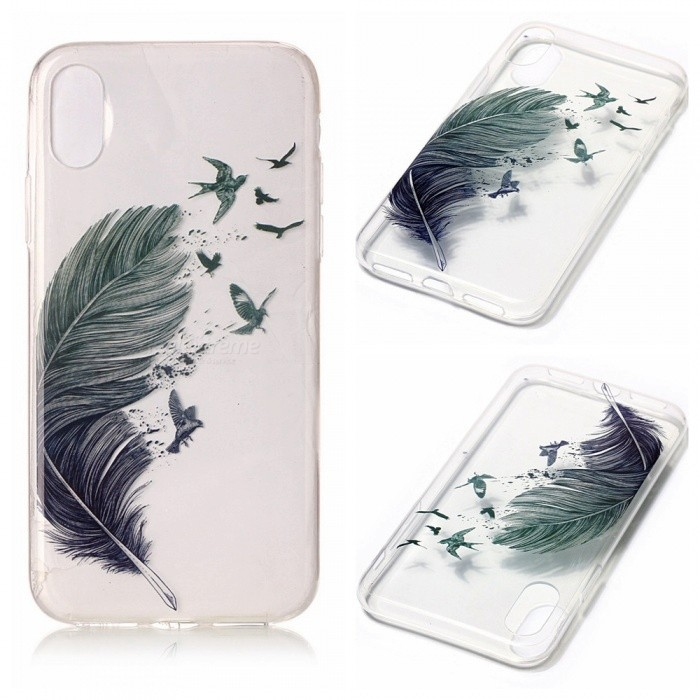Protective TPU Back Case for IPHONE X - Feather PatternTPU Cases<br>Form  ColorFeather PatternModelN/AQuantity1 pieceMaterialTPUCompatible ModelsOthers,IPHONE XDesignMixed ColorStyleBack CasesPacking List1 x Case<br>