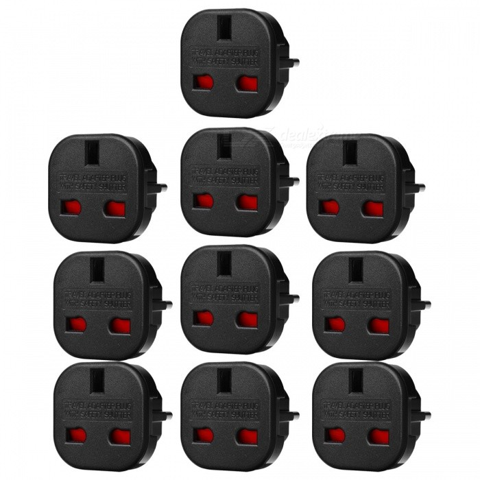 JEDX UK to EU AC Power Travel Plug Socket Converter - Black (10 PCS)Plugs &amp; Sockets<br>Form  ColorBlack (10 PCS)Quantity1 DX.PCM.Model.AttributeModel.UnitMaterialPlasticFireproof MaterialYesTarget Country &amp; RegionEURate Voltage240VRated Current16 DX.PCM.Model.AttributeModel.UnitRated Power240 DX.PCM.Model.AttributeModel.UnitCompatible PlugEU Plug (2-Round-Pin Plug)GroundingNoOutlet1 DX.PCM.Model.AttributeModel.UnitWith Switch ControlNoSurge Protection FunctionYesLightning Protection FunctionYesWith FuseYesPower AdapterEU PlugPacking List10 x UK to EU Plug travel adapters<br>