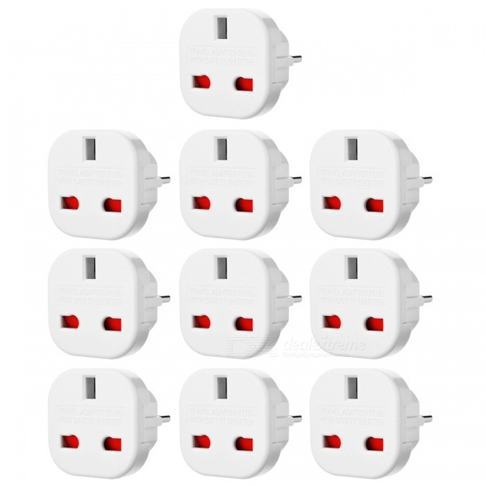 JEDX UK to EU AC Power Travel Plug Socket Converter - White (10 PCS)Plugs &amp; Sockets<br>Form  ColorWhite (10 PCS)Quantity1 DX.PCM.Model.AttributeModel.UnitMaterialPlasticFireproof MaterialYesTarget Country &amp; RegionEURate Voltage240VRated Current16 DX.PCM.Model.AttributeModel.UnitRated Power240 DX.PCM.Model.AttributeModel.UnitCompatible PlugEU Plug (2-Round-Pin Plug)GroundingNoOutlet1 DX.PCM.Model.AttributeModel.UnitWith Switch ControlNoSurge Protection FunctionYesLightning Protection FunctionYesWith FuseYesPower AdapterEU PlugPacking List10 x UK to EU Plug travel adapters<br>
