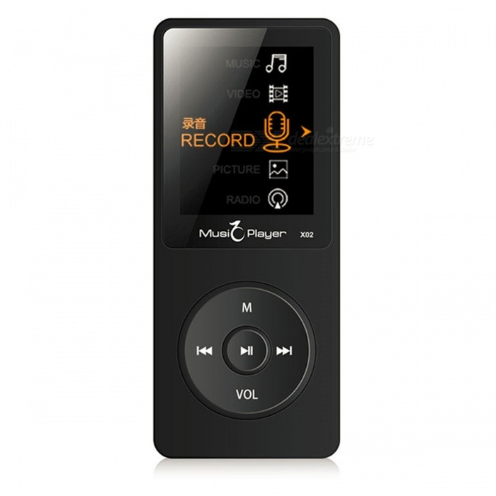 X02 MP3 Player Built-in Speaker 1.8 Inch Screen - Black (8GB)MP3 Players<br>Form  ColorBlackBuilt-in Memory / RAM8GBModelX02Quantity1 pieceMaterialPlasticShade Of ColorBlackScreen Size1.8 inchMemory Card TypeTFMax Extended Capacity128GBAudio Compression FormatOthers,MP3, WMA, APE, FLACHeadphone Jack3.5mmBattery TypeLi-polymer batteryPacking List1 x MP3 Player1 x USB Cable1 x Manual1 x Earphones<br>