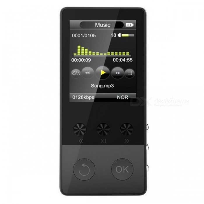 HIFI Bluetooth MP3 Player 1.8 TFT Screen Music Player - Black (8GB)MP3 Players<br>Form  ColorBlackBuilt-in Memory / RAM8GBQuantity1 setMaterialMetalShade Of ColorBlackScreen TypeTFTScreen Size1.8 inchScreen Resolution160*128pxMemory Card TypeMicro SD (TF) cardMax Extended Capacity64GBAudio Compression FormatOthers,MP3,WMA,WAV,APE,FLACE-bookTXTTuner BandsFMFM Frequency87.5FM-108MHzHeadphone JackOthers,-Battery Capacity400 mAhPacking List1 x MP3 Player1 x USB cable1 x Earphone1 x User manual<br>