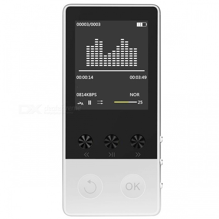 HIFI Bluetooth MP3 Player 1.8 TFT Screen Music Player - Silver (8GB)MP3 Players<br>Form  ColorSilverBuilt-in Memory / RAM8GBQuantity1 setMaterialMetalShade Of ColorSilverScreen TypeTFTScreen Size1.8 inchScreen Resolution160*128pxMemory Card TypeMicro SD (TF) cardMax Extended Capacity64GBAudio Compression FormatOthers,MP3,WMA,WAV,APE,FLACE-bookTXTTuner BandsFMFM Frequency87.5FM-108MHzHeadphone JackOthers,-Battery Capacity400 mAhPacking List1 x MP3 Player1 x USB cable1 x Earphone1 x User manual<br>