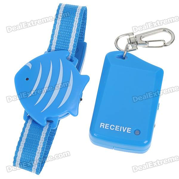Cute Fish Shaped Safety Wristband Anti-Lost Alarm Device for Kid/Pet/Purse/Bag (1*CR2032/1*AAA)