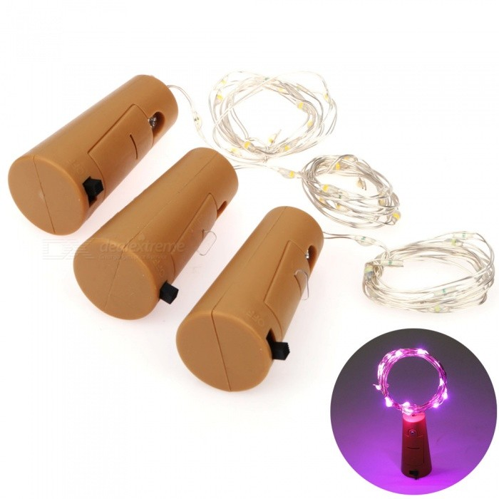 YouOKLight 2M Bottle Stopper Light Purple LED String Light - 3PCSLED Nightlights<br>Form  ColorBrown + SilverModelYK0438-PMaterialPlastic + Silver Copper WireQuantity3 DX.PCM.Model.AttributeModel.UnitPower2WRated VoltageOthers,DC 4.5 DX.PCM.Model.AttributeModel.UnitConnector TypeOthersColor BINPurpleEmitter TypeOthers,0603 SMD LEDTotal Emitters20DimmableNoBeam Angle360 DX.PCM.Model.AttributeModel.UnitInstallation TypeOthersPacking List3 x Bottle Stopper Light (Included LR44 Button Batteries)<br>