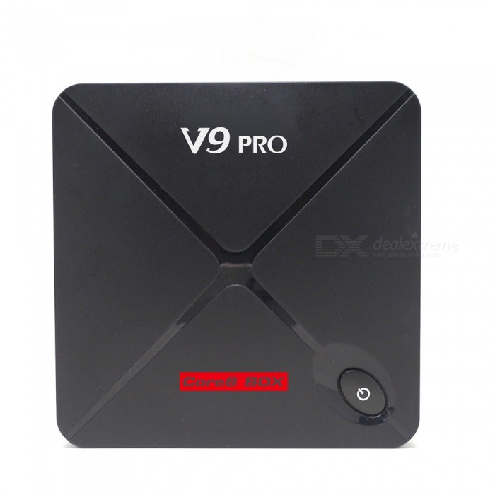 V9 PRO S912 BT4.2 Android 6.0 Octa-Core TV BOX with 2GB,16GB (EU Plug)Smart TV Players<br>Form  ColorBlackBuilt-in Memory / RAM2GBStorage16GBPower AdapterEU PlugModelV9 PROQuantity1 pieceMaterialABSShade Of ColorBlackOperating SystemAndroid 6.0ChipsetAmlogic S912CPUOthers,Cortex-A53Processor Frequency2.0GHZGPUMali-450 Up to 750MHzMenu LanguageEnglish,French,German,Italian,Spanish,Portuguese,Russian,Vietnamese,Polish,Greek,Danish,Norwegian,Japanese,Bahasa Indonesia,Korean,Thai,Maltese,Latin,Malay,Czech,Greek,Romanian,Chinese Simplified,Chinese TraditionalMax Extended Capacity32GBSupports Card TypeMicroSD (TF)Wi-FiSupport 802.11 b/g /n+5G+BTBluetooth VersionOthers,Bluetooth V4.23G FunctionNoWireless Keyboard/Mouse2.4GAudio FormatsMP3,WMA,APE,FLAC,OGG,AC3,DTS,AACVideo FormatsAVI,MKV,MOV,M4V,AVC,FLV,VOB,MPG,DAT,MPEG,H.264,WMVAudio CodecsDTS,AC3,FLACVideo CodecsMPEG-1,MPEG-2,MPEG-4,H.264,VC-1,H.265Picture FormatsJPEG,BMP,PNG,GIF,TIFFSubtitle FormatsMicroDVD [.sub],SubRip [.srt],Sub Station Alpha [.ssa],Sami [.smi]idx+subPGSOutput Resolution1080PHDMI2.0USBUSB 2.0Power Supply5V 2APacking List1 x V9 PRO TV Box1 x Power Adapter 1 x Remote Control1 x User Manual1 x HDMI Cable<br>