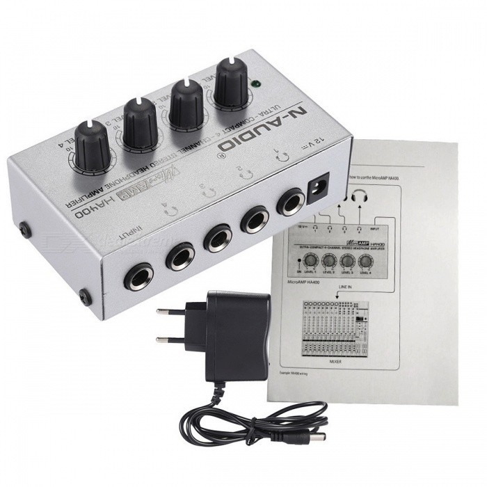 HA400 4 Channels Mini Audio Stereo Headphone Amplifier - EU PlugAmplifiers<br>Form  ColorSilver (EU Plug)ModelHA400MaterialMetalQuantity1 DX.PCM.Model.AttributeModel.UnitInterface3.5mmRadio TunerNoPower AdapterEU PlugPacking List1 x Amplifier1 x Power Adapter1 x User Manual (English)<br>