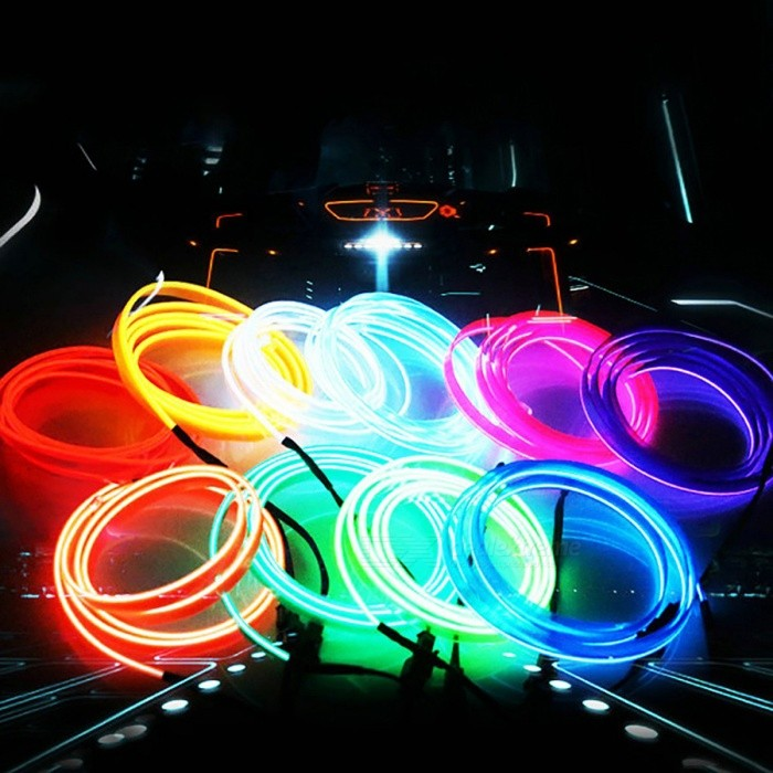 Universal 5M 10 Colors Car Stylish Flexible Neon Light EL Wire - Red