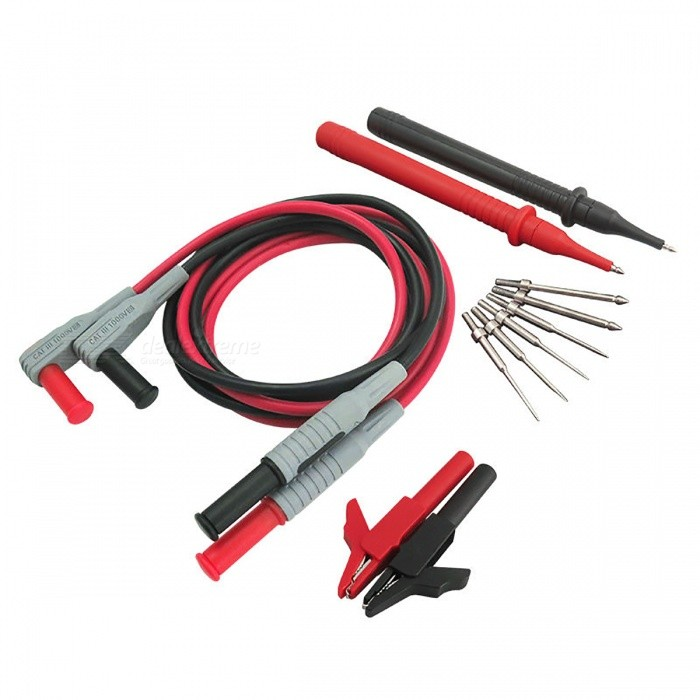 P1300B 12-in-1 Super Multimeter Probe Test Lead Kits + Alligator ClipsMultimeters<br>Form  ColorBlack + RedModelP1300BQuantity1 DX.PCM.Model.AttributeModel.UnitMaterialABS + CopperPacking List1 x P1300B Test Lead Kit<br>