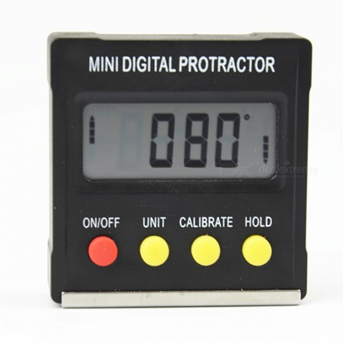 Mini Digital Protractor Inclinometer Level Meter with Magnetic BaseOther Measuring &amp; Analysing Instruments<br>Form  ColorBlackModelN/AQuantity1 pieceMaterialABSPowered ByOthers,3V CR2032 BatteriesBattery Number2Battery included or notNoPacking List1 x Mini Digital Protractor<br>