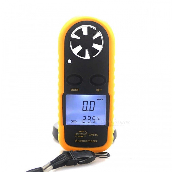 BENETECH GM816 1.5 LCD Portable Digital Wind Speed Meter AnemometerOther Measuring &amp; Analysing Instruments<br>Form  ColorBlack + YellowModelGM816Quantity1 DX.PCM.Model.AttributeModel.UnitMaterialPlasticScreen Size1.5 DX.PCM.Model.AttributeModel.UnitPowered ByOthers,CR2032 batteryBattery Number1Battery included or notNoPacking List1 x Digital Anemometer (batteries are not included)<br>