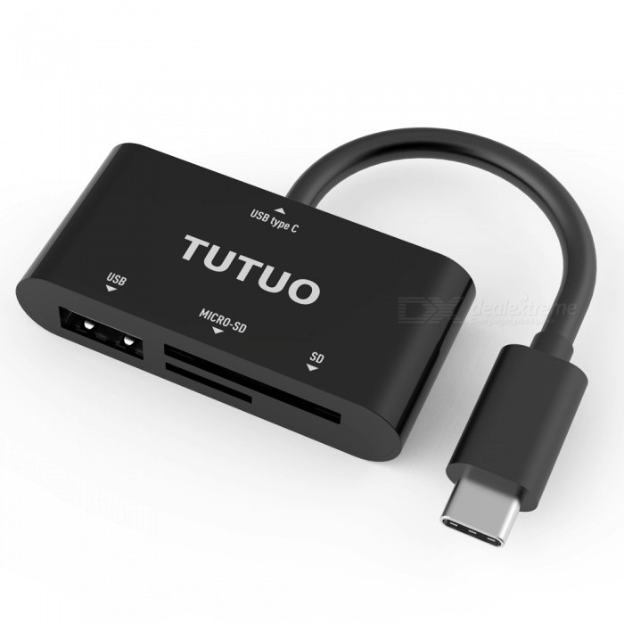 Tutuo USB-C OTG Card Reader, TF SD Hub Type-C Adapter for MACBOOKUSB Hubs &amp; Switches<br>Form  ColorBlackModelType C-V20Quantity1 pieceMaterialPlasticShade Of ColorBlackIndicator LightNoPort Number3With Switch ControlNoInterfaceUSB 2.0Transmission Rate480 bpsPowered ByUSBSupports SystemWin xp,Win 2000,Win vista,Win7 32,Win7 64,Win8 32,Win8 64CertificationCE, RoHs, FCCPacking List1 x USB Card reader<br>