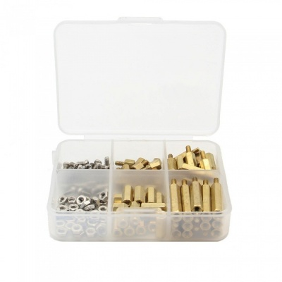 120Pcs/Lot M2.5 Brass Spacer+Screw+Nut Kits w/ Case for Raspberry Pi