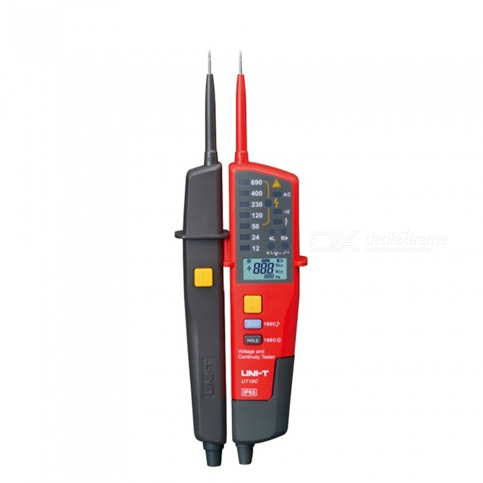UNI-T UT18C Voltage and Vontinuity Tester - Red, BlackOther Measuring &amp; Analysing Instruments<br>Form  ColorRed + BlackModelUT18CQuantity1 DX.PCM.Model.AttributeModel.UnitMaterialABSScreen Size31*20 DX.PCM.Model.AttributeModel.UnitPowered ByAAA BatteryBattery Number2Battery included or notYesCertificationCEPacking List1 x Tester2 x Batteries1 x Plastic box1 x  Manual<br>