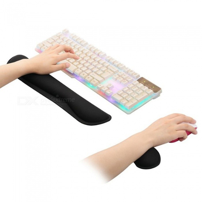 Memory Cotton Keyboard Wrist Care with Mouse Wrist Hand Care KitOther Accessories<br>Form  ColorBlackQuantity1 setMaterialMemory cotton + rubber padCompatible BrandAPPLE,Dell,HP,Toshiba,Acer,Lenovo,Samsung,MSI,Sony,IBM,Asus,Thinkpad,Huawei,GoogleOther FeaturesN/APacking List1 x Keyboard hand care1 x Heart-shaped mouse hand care<br>