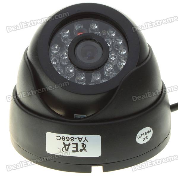 Mini CMOS Surveillance Security Camera with 24-LED Night Vision - Black (DC 12V)