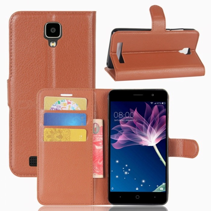 Lychee Pattern Flip-Open PU Case for  Doogee x10 - BrownLeather Cases<br>Form  ColorBrownModelN/AMaterialPUQuantity1 DX.PCM.Model.AttributeModel.UnitShade Of ColorBrownCompatible ModelsDoogee x10FeaturesAnti-slip,Dust-proof,Shock-proof,Abrasion resistance,Easy-to-remove,Holder functionPacking List1 x Case<br>