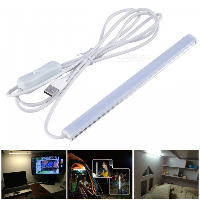 USB 6W White SMD 2835 LED Strip Bar Light Desk Table Lamp - 50CMTable Lights<br>Form  ColorWhite LightPower AdapterUSB - 50cmMaterialAluminum body + PC coverQuantity1 DX.PCM.Model.AttributeModel.UnitPower6WRated VoltageOthers,DC5 DX.PCM.Model.AttributeModel.UnitTotal EmittersOthers,45Color BINWhiteDimmableNoColor Temperature6000KActual Lumens- DX.PCM.Model.AttributeModel.UnitBattery TypeOthers,USBPacking List1 x USB LED Desk Table Lamp<br>