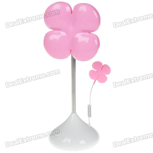 Cute Luck Leaf Clover Shaped 2-Mode 16-LED Super Bright White Light Lamp - Pink (3*AA/USB Powered)