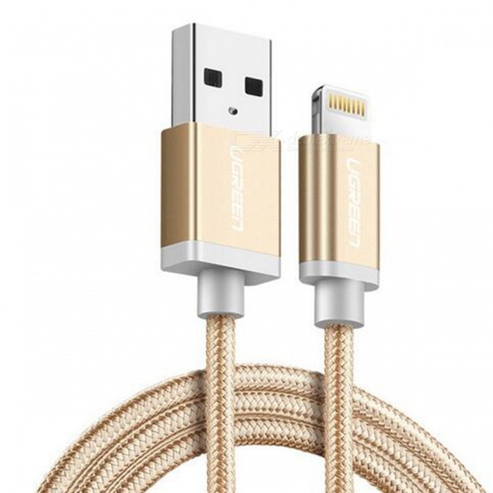 Ugreen US199 Nylon Lightning to USB Charging Data Cable - Gold (2m)Cables<br>Form  ColorGold (2m)ModelUS199Quantity1 DX.PCM.Model.AttributeModel.UnitMaterialNylon braidedCompatible ModelsOthers,For All Apple Lightning 8 Pin DeviceFunctionCharging,Data syncConnectorUSB,Apple 8pin LightningCable Length200 DX.PCM.Model.AttributeModel.UnitCertificationMFIPacking List1 x MFI lightning cable<br>
