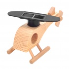 Cute Solar Powered Rotation-Blade Wooden Helicopter (Color Assorted)