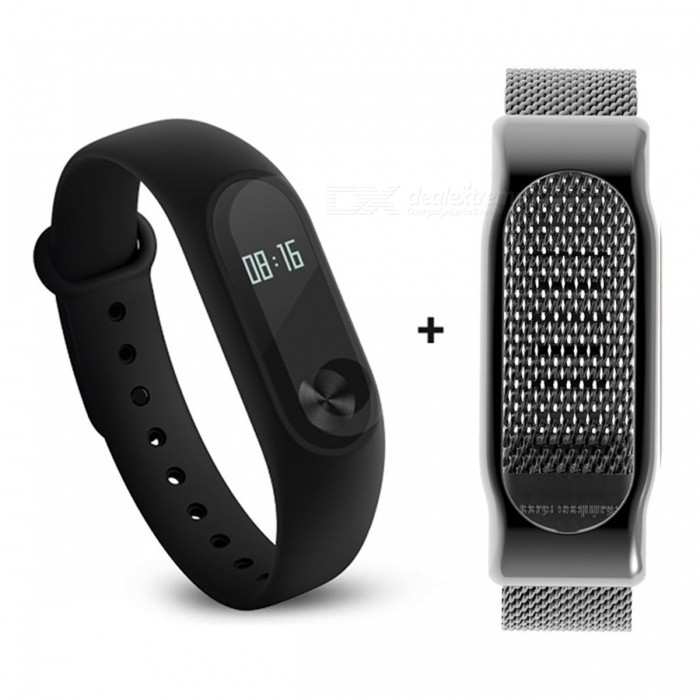 Xiaomi 0.42 Mi Band 2 Smart Wristband with Black Steel Mesh StrapSmart Bracelets<br>Form  ColorBlack + Black (Steel Mesh Strap)ModelXMSH04HMQuantity1 pieceMaterialAluminum alloy, thermoplastic elastomerWater-proofIP67Bluetooth VersionBluetooth V4.0Touch Screen TypeYesOperating SystemAndroid 4.4,Android 4.4.1,Android 4.4.2,iOSCompatible OSSupport Bluetooth 4.4 Android 4 above system, iOS7.0 above systemBattery CapacityLithium polymer 70 mAhBattery TypeLi-polymer batteryStandby Time20 daysOther Features0.42 OLED Display Touch Screen?Call reminder, Measurement of heart rate,Pedometer, Sleep management, SMS RemindingPacking List1 x Original Xiaomi Mi Band 2 Smartband1 x Original Wristband1 x Charger cable (15cm)1 x Chinese User Manual1 x Steel Mesh Strap<br>