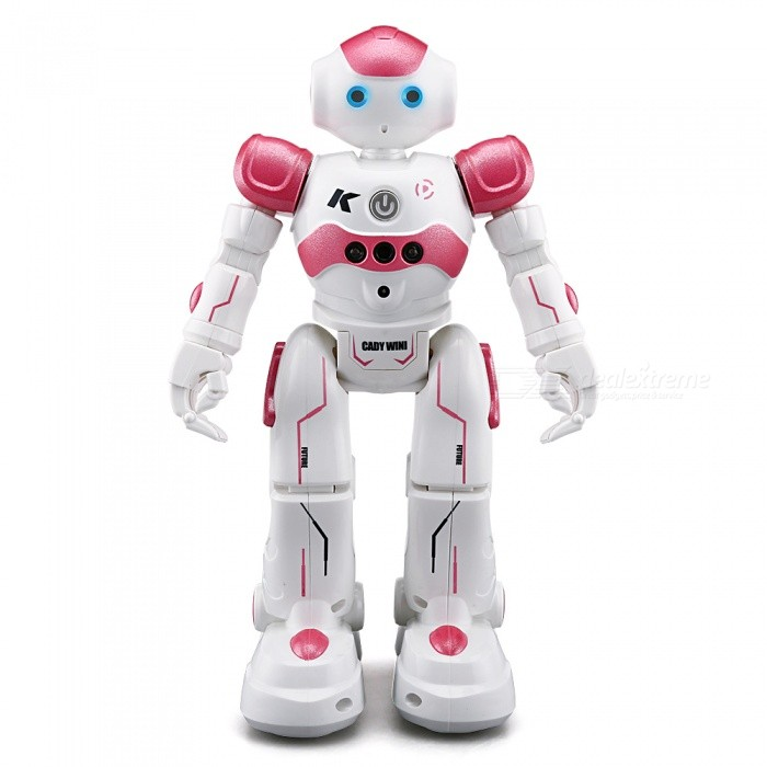 JJRC R2 CADY WIDA Intelligent RC Robot - PinkR/C Airplanes&amp;Quadcopters<br>Form  ColorLight Pink + WhiteModelR2MaterialABSQuantity1 setShade Of ColorPinkGyroscopeYesChannels QuanlityOthers,Functions: Auto Demonstration,Dance,Forward/backward,Gesture Control,Obstacle Avoidance,Patrol,Programming,Turn left/right,With light,With music channelFunctionOthers,Demonstration,Dance,Forward/backward,Gesture Control,Obstacle Avoidance,Patrol,Programming,Turn left/right,With light,With musicRemote TypeOthers,IR Remote ControlRemote control frequency2.4GHzRemote Control RangeNO cmSuitable Age 9-12 months,13-24 months,8-11 years,12-15 years,Grown upsCameraNoCamera PixelNoLamp YesBattery TypeLi-polymer batteryBattery Capacity600 mAhCharging Time1 hourWorking Time1.5 hoursRemote Controller Battery TypeAARemote Controller Battery Number2 (not included)Remote Control TypeOthers,IR Remote ControlModelOthers,IR Remote ControlCertificationCEPacking List1 x RC Robot (Battery Included)1 x IR Transmitter1 x USB Cable1 x English Manual<br>