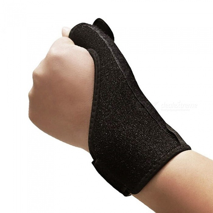 Outdoor Spring Thumbs Bracer with Steel Sheets - BlackWrist Supports<br>Form  ColorBlackQuantity1 pieceMaterialCottonOther FeaturesType: Wrist Support;<br>Target User: Unisex;<br>Size: One Size;<br><br>Basic Information<br>Product weight: 0.3700 kg<br>Package weight: 0.4000 kg<br>Package size: 23.00 x 10.00 x 3.00 cm / 9.06 x 3.94 x 1.18 inchesPacking List1 x Wrist Guard<br>