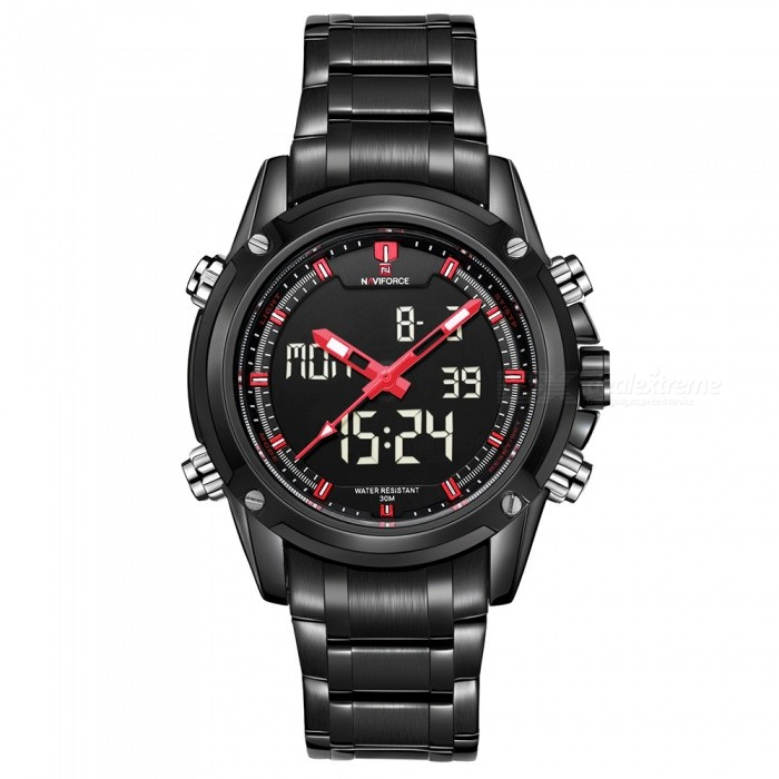 NAVIFORCE 9050 Men Sports Army Metal Wrist Quartz Watch - Black, RedSport Watches<br>Form  ColorBlack + Red (Without Gift Box)ModelNF9050Quantity1 DX.PCM.Model.AttributeModel.UnitShade Of ColorBlackCasing MaterialStainless SteelWristband MaterialStainless SteelSuitable forAdultsGenderMenStyleWrist WatchTypeSports watchesDisplayAnalog + DigitalMovementQuartzDisplay Format12/24 hour time formatWater ResistantWater Resistant 3 ATM or 30 m. Suitable for everyday use. Splash/rain resistant. Not suitable for showering, bathing, swimming, snorkelling, water related work and fishing.Dial Diameter4.3 DX.PCM.Model.AttributeModel.UnitDial Thickness1.6 DX.PCM.Model.AttributeModel.UnitWristband Length22.6 DX.PCM.Model.AttributeModel.UnitBand Width2.2 DX.PCM.Model.AttributeModel.UnitBattery1 x Button batteryPacking List1 x Watch<br>