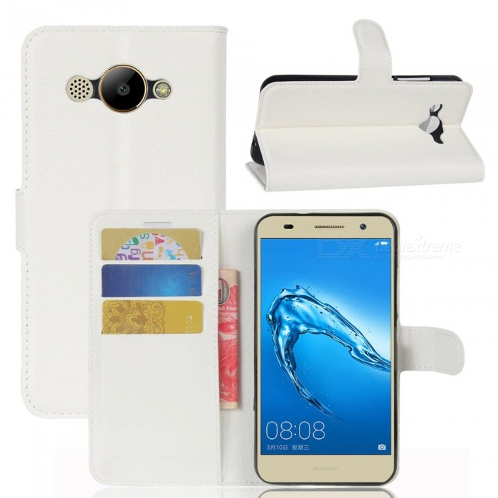 Lychee Pattern Protective PU Case for Huawei Y3 2017 - WhitePlastic Cases<br>Form  ColorWhiteModelN/AMaterialPUQuantity1 pieceShade Of ColorWhiteCompatible Modelshuawei Y3 2017FeaturesAnti-slip,Dust-proof,Shock-proof,Abrasion resistance,Holder functionPacking List1 x Case<br>