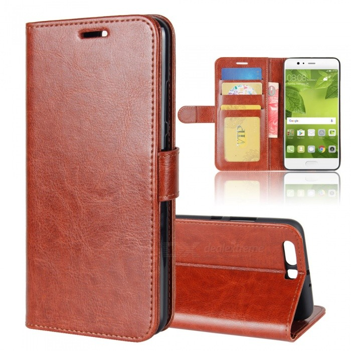Protective PU Leather Case for HUAWEI  P10 plus - BrownLeather Cases<br>Form  ColorBrownModelN/AMaterialPUQuantity1 pieceShade Of ColorBrownCompatible ModelsHUAWEI  P10 plusFeaturesAnti-slip,Dust-proof,Shock-proof,Abrasion resistance,Holder functionPacking List1 x Case<br>