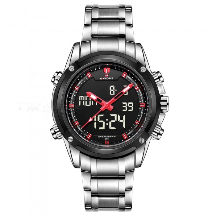 NAVIFORCE 9050 Men Sports Army Metal Wrist Quartz Watch - Silver, RedSport Watches<br>Form  ColorSilver + Red (Without Gift Box)ModelNF9050Quantity1 DX.PCM.Model.AttributeModel.UnitShade Of ColorSilverCasing MaterialStainless SteelWristband MaterialStainless SteelSuitable forAdultsGenderMenStyleWrist WatchTypeSports watchesDisplayAnalog + DigitalMovementQuartzDisplay Format12/24 hour time formatWater ResistantWater Resistant 3 ATM or 30 m. Suitable for everyday use. Splash/rain resistant. Not suitable for showering, bathing, swimming, snorkelling, water related work and fishing.Dial Diameter4.3 DX.PCM.Model.AttributeModel.UnitDial Thickness1.6 DX.PCM.Model.AttributeModel.UnitWristband Length22.6 DX.PCM.Model.AttributeModel.UnitBand Width2.2 DX.PCM.Model.AttributeModel.UnitBattery1 x Button batteryPacking List1 x Watch<br>