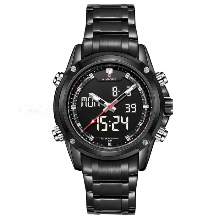 NAVIFORCE 9050 Men Sports Army Metal Wrist Quartz Watch - Black, WhiteSport Watches<br>Form  ColorBlack + White (With Gift Box)ModelNF9050Quantity1 DX.PCM.Model.AttributeModel.UnitShade Of ColorBlackCasing MaterialStainless SteelWristband MaterialStainless SteelSuitable forAdultsGenderMenStyleWrist WatchTypeSports watchesDisplayAnalog + DigitalMovementQuartzDisplay Format12/24 hour time formatWater ResistantWater Resistant 3 ATM or 30 m. Suitable for everyday use. Splash/rain resistant. Not suitable for showering, bathing, swimming, snorkelling, water related work and fishing.Dial Diameter4.3 DX.PCM.Model.AttributeModel.UnitDial Thickness1.6 DX.PCM.Model.AttributeModel.UnitWristband Length22.6 DX.PCM.Model.AttributeModel.UnitBand Width2.2 DX.PCM.Model.AttributeModel.UnitBattery1 x Button batteryPacking List1 x Watch1 x Gift Box<br>