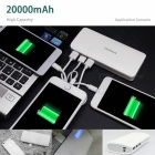 20000mAh 3,7V Power Bank med 3 USB laddningsportar - Vit