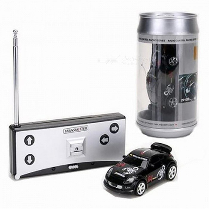 Coke Can Style Mini RC Car Radio Remote Control Racing Car - BlackR/C Cars<br>Form  ColorBlackModelN/AMaterialPlastic,Carbon Fiber,Rubber,MetalQuantity1 DX.PCM.Model.AttributeModel.UnitShade Of ColorBlackShape ModelOthers,RC CarScaleOthers,1:64Channels Quanlity2 DX.PCM.Model.AttributeModel.UnitFunctionOthers,/Remote control frequency27MHzRemote Control Range- DX.PCM.Model.AttributeModel.UnitSuitable Age 5-7 years,8-11 years,12-15 yearsCameraNoLamp YesBattery Capacity/ DX.PCM.Model.AttributeModel.UnitBattery TypeOthers,Rechargeable batteryCharging Time/ DX.PCM.Model.AttributeModel.UnitWorking Time/ DX.PCM.Model.AttributeModel.UnitRemote Controller Battery TypeAARemote Controller Battery NumberAA battery x 2 (not included)Packing List1 x RC Car1 x Remote Control4 x Road Blocks<br>