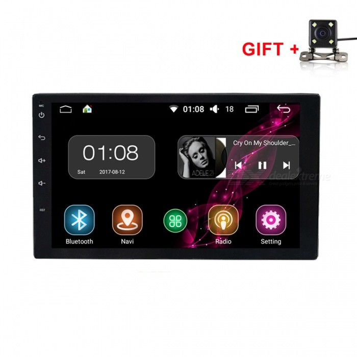 Funrover HD Quad-Core Android 6.0 Universal Car Radio Player w/ CameraCar DVD Players<br>Form  ColorAndroid Radio with Rearview CameraModelFU008Quantity1 DX.PCM.Model.AttributeModel.UnitMaterialABS+MetalStyle2 Din In-DashFunctionOthers,with rearview cameraCompatible MakeOthers,universal modelCompatible Car ModelSuitable size modelsCompatible YearOthers,2014 2015 2016 2017Screen SizeOthers,7 inchScreen Resolution1024*600Touch Screen TypeYesDetachable PanelNoBrightness ControlYesMenu LanguageOthers,English , Greek , Danish , Norwegian , Dutch , Arabic , Turkish , Japanese , Bahasa Indonesia , Korean , Thai , French , Maltese , Hungarian , Latin , Persian , Malay , Slovak , Czech , Greek , Romanian , Swedish , German , Finnish , Chinese Simplified , Chinese Traditional , Bulgarian , Norwegian , Hebrew , Italian , Spanish , Portuguese , Russian , Vietnamese , PolishCPU ProcessorIntel SoFIA 3GR Quad CoresSupport MapIGO,Route66,TOMTOM,Garmin,Sygic,CarelandMain FrequencyOthers,1.6 DX.PCM.Model.AttributeModel.UnitStore CapacityOthers,16 DX.PCM.Model.AttributeModel.UnitOperating SystemOthers,Android 6.0Audio FormatsMP3,WMA,APE,FLAC,OGG,AC3,DTS,AACVideo FormatsOthers,RM , PMP , AVC , FLV , VOB , MPG , DAT , MPEG , H.264 , MPEG1 , MPEG2 , RMVB , MPEG4 , WMV , TP , AVI , DIVX , MKV , MOV , HDMOV , MP4 , M4VPicture FormatsJPEG,BMP,PNG,GIF,TIFF,jps(3D),mpo(3D)Support RDSfor European countriesRadio TunerAM,FMRadio Response BandwidthAM: 520KHz-1700KHz,FM: 87MHz-110MHzStation Preset Qty.30RDSYesBuilt-in MicrophoneYesBluetooth FunctionReceived Call,Dialled Call,Missed CallBluetooth VersionBluetooth V4.0Amplifier Peak Power4*45 DX.PCM.Model.AttributeModel.UnitAudio ModeNatural,Rock,Jazz,Classical,Live,Dancing,PopularInterface PortUSB ISOAudio Input2 channelsAudio  Output1 ChannelRearview Camera InputYesExternal Memory Max. Support64 DX.PCM.Model.AttributeModel.UnitVideo Input2 channelsVideo Output1 channelWorking Voltage   12 DX.PCM.Model.AttributeModel.UnitWorking Temperature-20 ~+70
