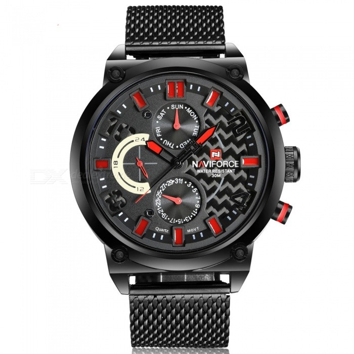 NAVIFORCE 9068S Men Sports Army Metal Wrist Quartz Watch - Black, RedSport Watches<br>Form  ColorBlack + Red (With Gift Box)ModelNF9068SQuantity1 DX.PCM.Model.AttributeModel.UnitShade Of ColorBlackCasing MaterialStainless SteelWristband MaterialStainless SteelSuitable forAdultsGenderMenStyleWrist WatchTypeSports watchesDisplayAnalogBacklightYesMovementQuartzDisplay Format12 hour formatWater ResistantWater Resistant 3 ATM or 30 m. Suitable for everyday use. Splash/rain resistant. Not suitable for showering, bathing, swimming, snorkelling, water related work and fishing.Dial Diameter4.8 DX.PCM.Model.AttributeModel.UnitDial Thickness1.2 DX.PCM.Model.AttributeModel.UnitWristband Length24.5 DX.PCM.Model.AttributeModel.UnitBand Width2.2 DX.PCM.Model.AttributeModel.UnitBattery1 x Button batteryPacking List1 x Watch1 x Gift Box<br>