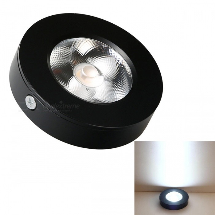 JRLED 5W Cold White Wall Lamp, Corridor Lamp - Black (AC220V)Ceiling Light<br>Form  ColorBlackColor BINCold WhiteModelN/AQuantity1 DX.PCM.Model.AttributeModel.UnitMaterialAluminum + acrylicPower5WRated VoltageAC 220 DX.PCM.Model.AttributeModel.UnitChip BrandEpistarChip TypeN/AEmitter TypeCOBTotal Emitters1Theoretical Lumens500 DX.PCM.Model.AttributeModel.UnitActual Lumens450 DX.PCM.Model.AttributeModel.UnitColor Temperature6000KDimmableNoBeam Angle45 DX.PCM.Model.AttributeModel.UnitWavelengthN/AExternal Diameter7.5 DX.PCM.Model.AttributeModel.UnitHole diameter7.5 DX.PCM.Model.AttributeModel.UnitHeight1.8 DX.PCM.Model.AttributeModel.UnitCertificationCE ROHSOther FeaturesThis product, ultra-thin size, with the design, no holes, the fifth generation of high voltage COB light source, high brightness, high color rendering index, the quality is stable, low luminous decay, wall lamp, ceiling lamp, ceiling lamp, lamp, lamp lighting showcase good choice.Packing List1 x 5W LED Lamp<br>