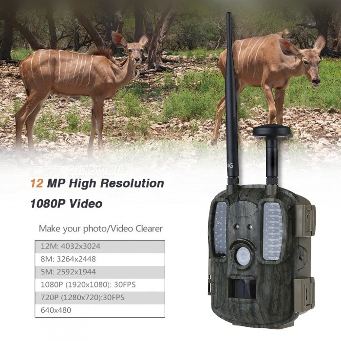 2.4 4G Hunting Video Camera with GPS - ACU CamouflageSport Cameras<br>Form  ColorACUModelIME-BL840LShade Of ColorMulti-colorMaterialABSQuantity1 pieceImage SensorCMOSImage Sensor Size1/2.5 inchesAnti-ShakeYesFocal Distance25 mFocusing Range108Wide Angle120Effective Pixels12/8/5Max. Pixels12 MPImagesJPGStill Image Resolution12MP:4000x3000; 8M:3264x2448; 5M:2592x1944; 3M:2048X1536;VideoAVIVideo Resolution1920x1080/25fps;1280x720/30fps 720x480/30fps; 640x480/30fps;320x240/30fpsVideo Frame Rate30Cycle RecordYesISOOthers,AutoExposure CompensationOthers,±2EVSupports Card TypeTFSupports Max. Capacity32 GBOutput InterfaceAV,Micro USBLCD ScreenYesScreen TypeTFTScreen Size2.4 inchScreen Resolution1080Battery Measured Capacity 16000 mAhNominal Capacity14000-15000 mAhBattery TypeAABattery included or notNoBattery Quantity8 setVoltage6 VLow Battery AlertsYesWater ResistantOthers,IP56Supported LanguagesEnglish,Portuguese,Spanish,Italian,French,German,Finnish,Swedish,Others,Danish,Dutch ,Japan,ChineseCertificationCE ROHSPacking List1 x Camera1 x Strap1 x USB cable1 x User manual1 x GPS antenna1 x 4G antenna<br>